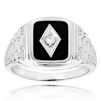 14k Gold Men's 1/10ct TDW Diamond Black Onyx Ring (H-I, SI1-SI2)