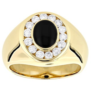 14k Gold Men's 3/4ct Diamond and Black Onyx Ring (G-H, VS1-VS2)