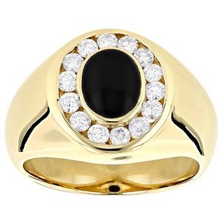 14k Gold Men's 3/4ct Diamond and Black Onyx Ring (G-H, VS1-VS2)