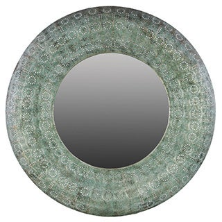 Pierced Metal Verdigris Finish Metal Round Wall Mirror