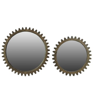 Natural Wood Finish Wooden Wall Mirror with Gear Inspired Frame (Set of 2) Natural Wood Finish