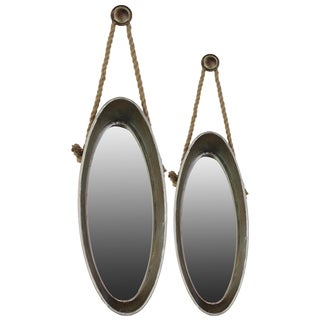 Galvanized Zinc Metal Mirror with Rope Hangers (Set of 2)