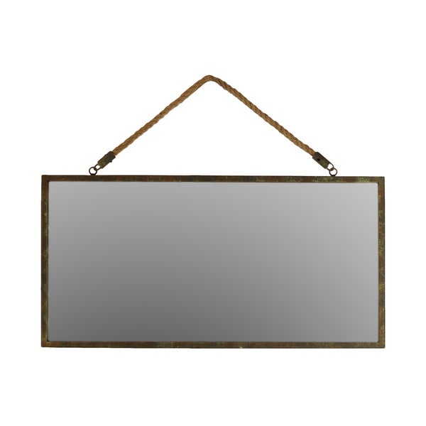 Bronze metal rectangular wall mirror with rope hangers for Mirror hangers
