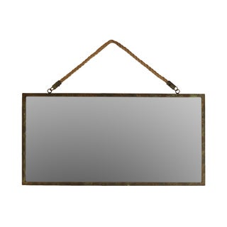 Bronze Metal Rectangular Wall Mirror with Rope Hangers