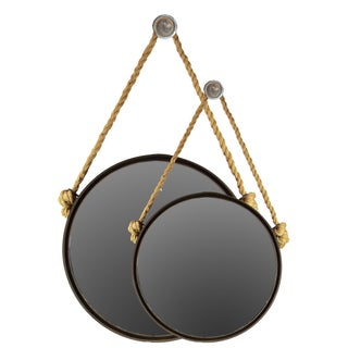 Black Metal Mirror Round with Knotted Rope Hanger (Set of 2)