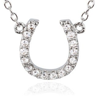 Journee Collection Sterling Silver Cubic Zirconia Horseshoe Pendant