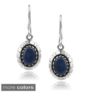 Journee Collection Sterling Silver Lapis and Onyx Dangle Earrings