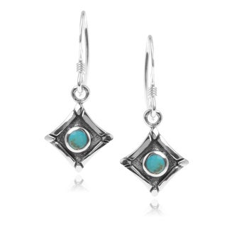 Journee Collection Sterling Silver Turquoise Square Dangle Earrings