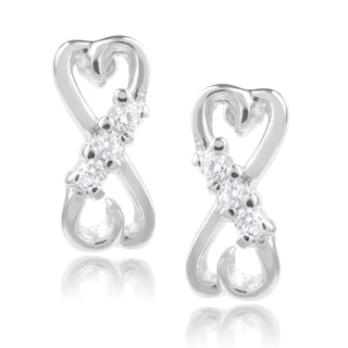 Journee Collection Sterling Silver Cubic Zirconia Double Heart Stud Earrings