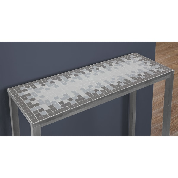 Shop Grey Blue Tile Top Hammered Silver Sofa Console