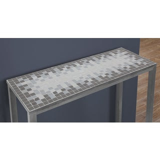 Grey/ Blue Tile Top Hammered Silver Sofa Console Table