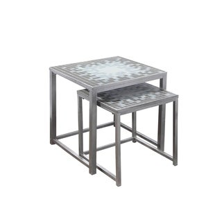 Grey / Blue Tile Top Hammered Silver 2-piece Nesting Table