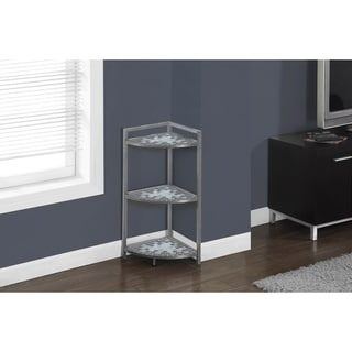 Grey/ Blue Tile Top Hammered Silver 30-inch Corner Etagere