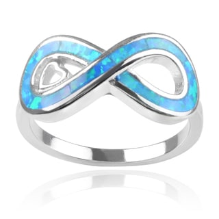 Journee Collection Sterling Silver Faux Opal Infinity Ring