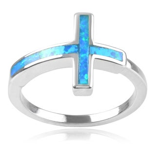 Journee Collection Sterling Silver Faux Opal Cross Ring