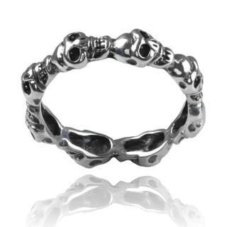 Journee Collection Sterling Silver Skull Ring