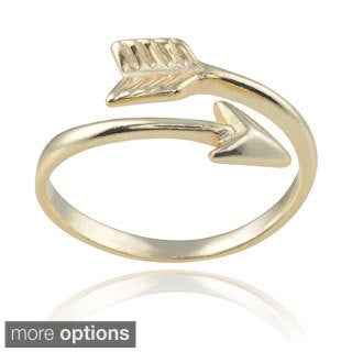 Journee Collection Sterling Silver Arrow Emblem Wrap Ring