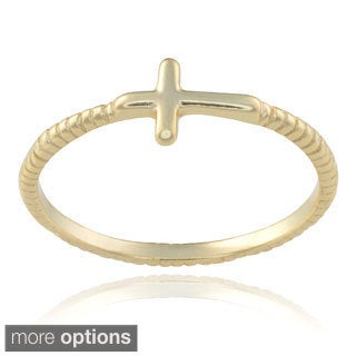 Journee Collection Sterling Silver Textured Cross Ring