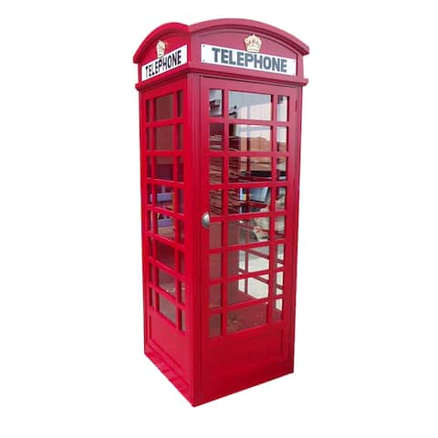 D-Art Collection Solid Mahogany Red London Telephone Booth