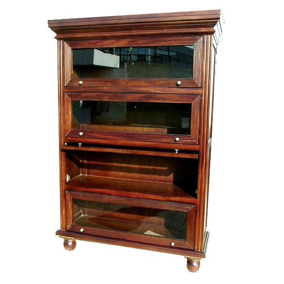 D-Art Collection Mahogany Wood Barrister Curio Bookcase