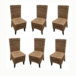 Handmade D-Art Set of 6 Seagrass Dining Chairs (Indonesia)