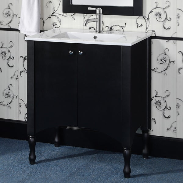 Wood\/ Ceramic 30inch Black\/ White Bathroom Vanity  Free Shipping Today  Overstock  16933039