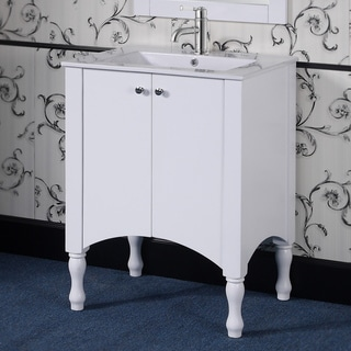 Wood/ Ceramic 30-inch White Bathroom Vanity