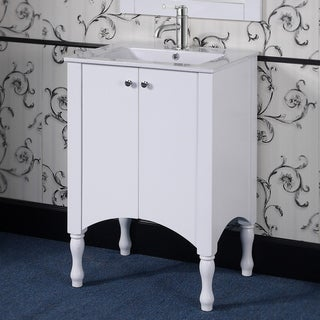 Ceramic/ Wood 24-inch White Bathroom Vanity