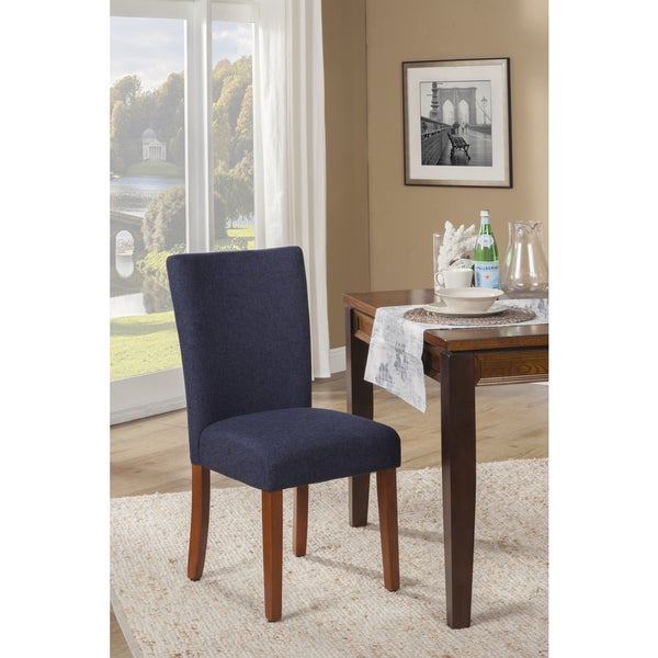 Shop HomePop Navy Blue Textured Parson Dining Chair (Set