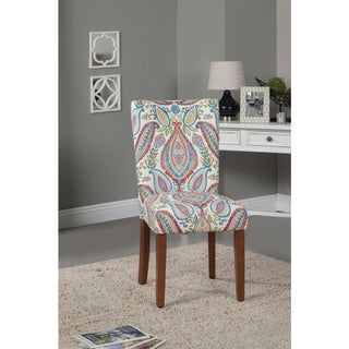 Link to HomePop Coral and Turquoise Paisley Parson Chair (Set of 2) Similar Items in Dining Room & Bar Furniture