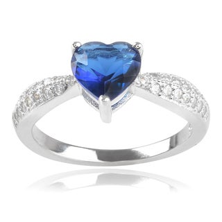 Journee Collection Sterling Silver Blue Cubic Zirconia Heart Ring