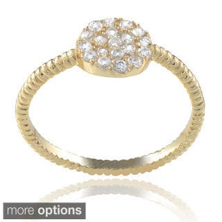 Journee Collection Sterling Silver Cubic Zirconia Textured Ring