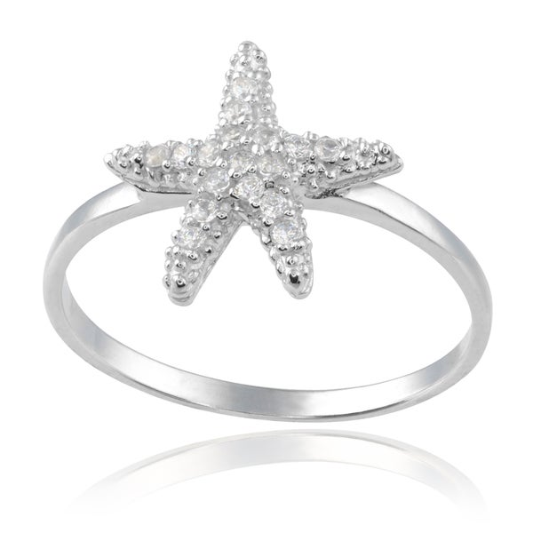 Journee Collection Sterling Silver Cubic Zirconia Starfish Ring
