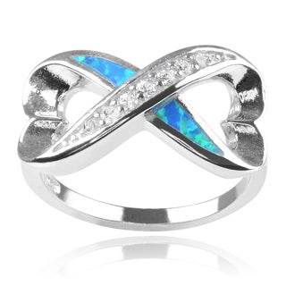 Journee Collection Sterling Silver Cubic Zirconia Faux Opal Infinity Ring