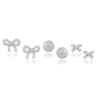 Journee Collection Sterling Silver Cubic Zirconia Set of 3 Earrings