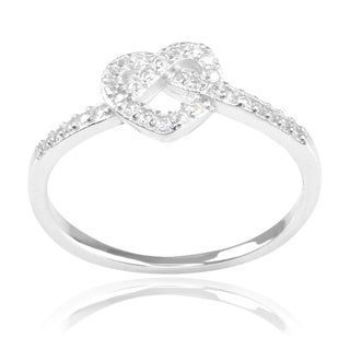 Journee Collection Sterling Silver Cubic Zirconia Twisted Heart Ring