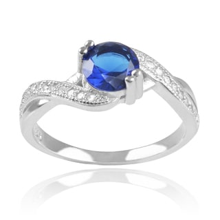Journee Collection Sterling Silver Blue Cubic Zirconia Ring