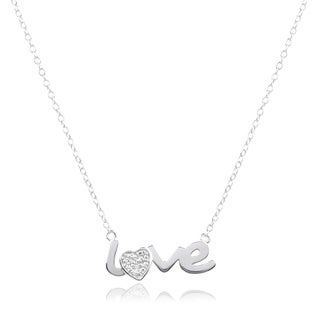 Journee Collection Sterling Silver Diamond Accent Love Pendant