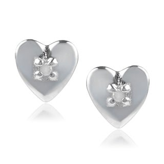 Journee Collection Sterling Silver Diamond Accent Heart Stud Earrings