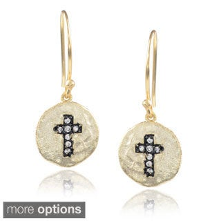 Journee Collection Sterling Silver Cubic Zirconia Cross Circle Dangle Earrings