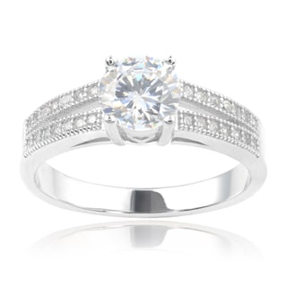 Journee Collection Sterling Silver Cubic Zirconia Double Row Engagement Ring
