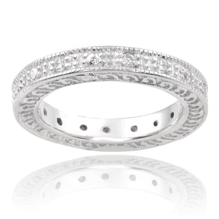 Journee Collection Sterling Silver Cubic 4mm Zirconia Band