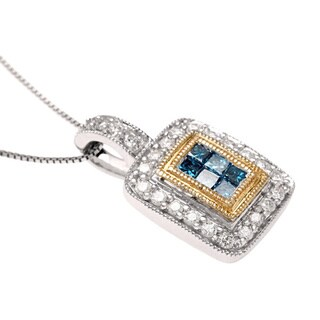 Divina 14k Two-tone Gold 1/2ct TDW Blue and White Diamond Necklace - n/a