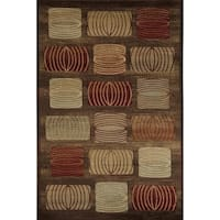 Bowery Brown/ Red Geometric Area Rug - 5'3 x 7'10