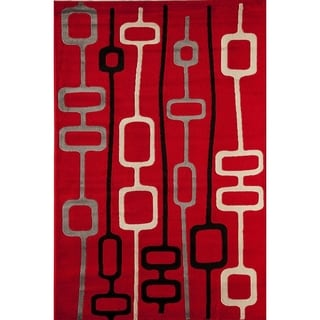 Power Loomed Red Geometric Bowery 4394 Rug (5' x 8')