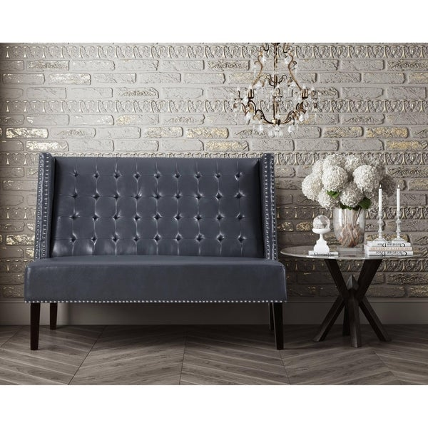 Leather Banquette Seating Store: Shop Halifax Grey Leather Banquette Bench