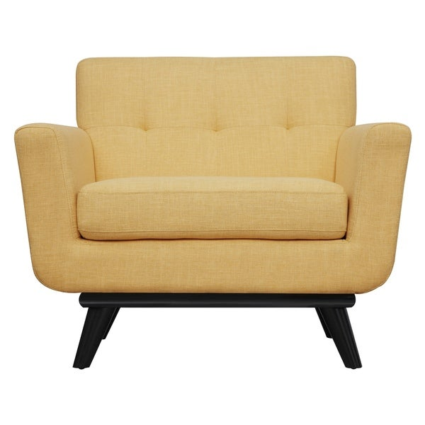 Shop James Mustard Yellow Linen Chair Free Shipping