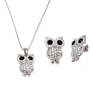 Rhodium Plated Black Crystal Element Owl Earrings and Pendant Set