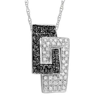 Divina 14k Gold 3/8ct TDW Black and White Diamond Geometric Necklace (H-I, I2-I3)