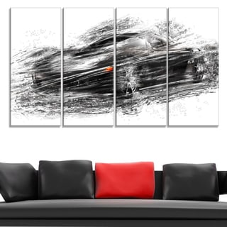 Black Sports Car Large Gallery Wrapped Canvas